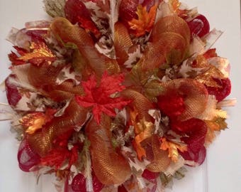 Maple Leaves Autumn Deco Mesh Handmade Wreath