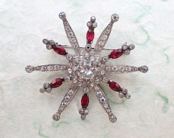 Signed Mazer Sterling Starburst Brooch AB919