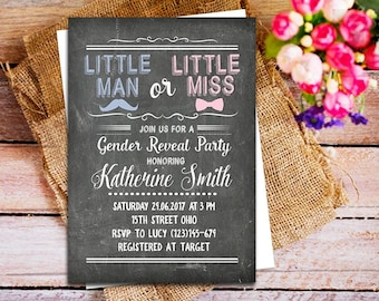 Little man or little miss invitation, gender reveal chalkboard invitation, Little Man or Little Miss Gender Reveal Invitation, pink blue