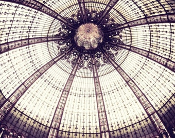 "Paris Photography - Geometric Wall Art - Mauve Plum Purple Wall Art - Stained Glass - Architecture Art Photograph ""Sea Urchin Ceiling"""