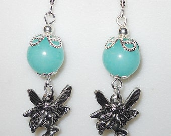 Whimsical Fairy w/ genuine turquoise Jade earrings