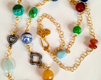 Aquamarine Diamond Pendant Necklace, Bezel Whiskey Topaz, Fire Agate, Sterling Silver CZ Clover Connector, Bezel Set Labadorite Connector