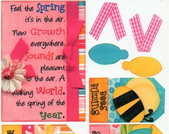 Spring Titles Tags Borders Bo Bunny  Cardstock Scrapbook Stickers Embellishments Card Making