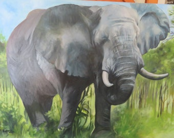 Original Oil Painting of an Elephant.