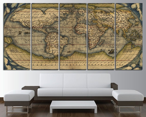 Old world map wall art multi panel set vintage large world map old world map wall art multi panel set vintage large world map canvas print wall art world map wall decor world map print world map poster gumiabroncs Choice Image