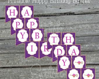Arabian Genie Lamp Birthday Banner | Happy Birthday Pennant Banner  | Printable | Baby Shower First Birthday Graduation | INSTANT DOWNLOAD