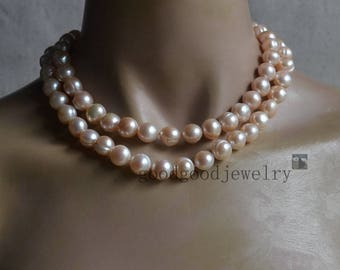big pale pink Pearl Necklace, double strand 11-11.5 mm Freshwater Pearl necklace, real Pearl necklace, statement necklace, women necklace