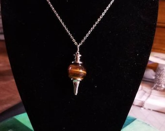 """18"""" Tiger Eye Scrying Pendulum necklace with Scrying chain and black pouch included"""