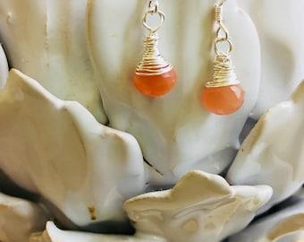 Peach Moonstone Dangle Earrings; Sterling Silver Drop Earrings; Petite Earrings Moonstone; Moonstone Minimalist Earrings