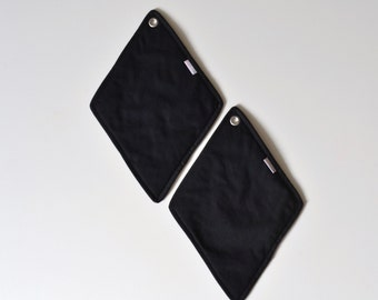 black diamonds pot holders - hostess gift - statement gift - large potholders - all black potholders - foodie gift - card player gift