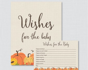 Pumpkin Wishes for Baby Baby Shower Activity - Printable Well Wishes for Baby Cards and Sign - Instant Download - Little Pumpkin Fall 0032