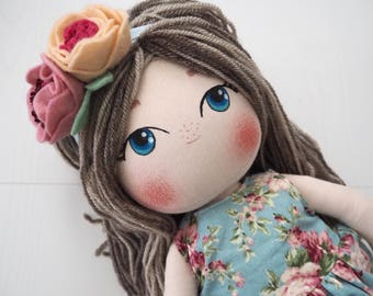 Cutest Fabric Doll - Cloth Doll with Dress and Headband - Original Author's Pattern Doll - Chubby Doll in a Romper - Floral Overal