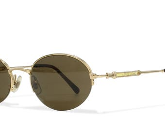 Loris Azzaro 508 30 Gold Vintage Sunglasses Semi-Rimless For Men