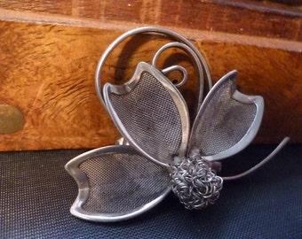 Unusual brooch - 925 - sterling silver - vintage - Flower Brooch - women's