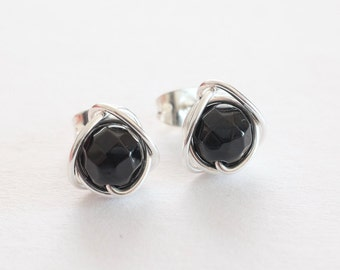 Black Stud Earrings, Black Obsidian Earrings, Black Silver Stud Earrings, Gift Ideas