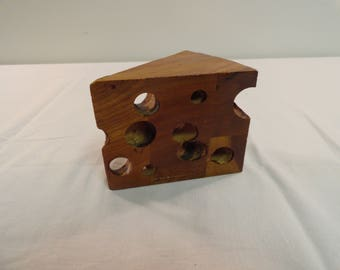 Unique Hand Made Wooden Piece Of Cheese