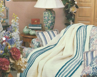 Crochet Pattern Afghan Blanket Cables Concerto, Bedspread, Home Decor, Bedding, Sofa Throw, Annie's Crochet Quilt