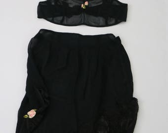 20% OFF SALE Vintage 1920s silk black bra and tap pants set 192b29e8f
