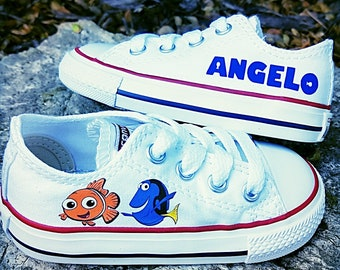 Finding Nemo Shoes, Custom Converse, Boy or Girl, Dory, Personalized Name, Infant Toddler Sizes