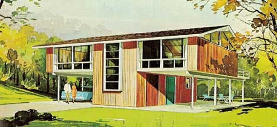 MID CENTURY MODERN Vacation home plans A-Frames house design