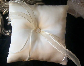 Simply Classic Ivory Satin Ring Bearer Pillow