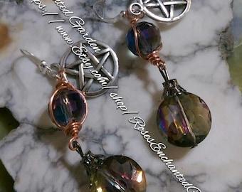 Rainbow Cyrstal Drop Pentacle Earrings Ooak