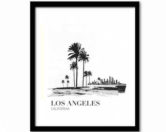 California Poster, Black and White Decor,  Los Angeles Print, Travel Poster, LA Gift, Typography Poster, Black and White Decor, Dorm Decor