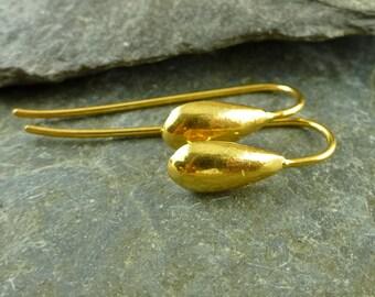Teardrop Ear Wires-24K Gold Vermeil Ear Wires-Artisan Findings-Earwires-Vermeil Earwires-Handmade Ear Wires-Handmade Earwires - fhtdv