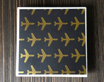 Airplane Coasters, Gold Foil Airplane Coasters, Gold Airplane Coasters, Ceramic Coasters, Set of 4 Coasters