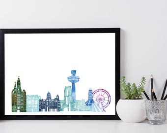 Liverpool Skyline Print (Blues) A4