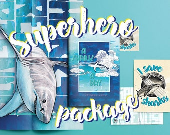 A Shark A Day - illustrated shark book. Donating 50% to save our oceans! SUPERHERO