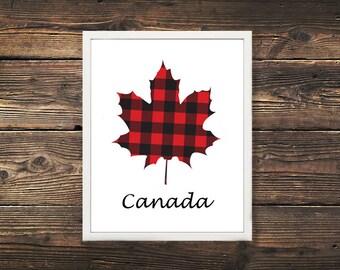 Canadian Maple Leaf Print, Lumberjack Flannel, Maple Leaf Print, Canadian Print, Canada Print, Canada Art, Plaid, Canadian Art, Canada Art