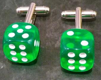 Double Six Lucky Dice Cufflinks - Green