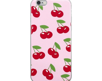 Cherry Print iPhone Case Pink