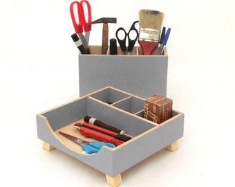 Gray Desk Organizer, Desktop Organizer, Desk Organizer, Desktop Wooden set, Desk Office Accessories, Spring home decor, Mothers day gift