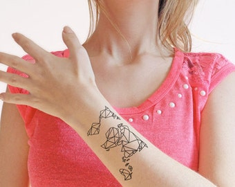 Origami tattoo etsy origami map temporary tattoo set of 2 gumiabroncs Choice Image