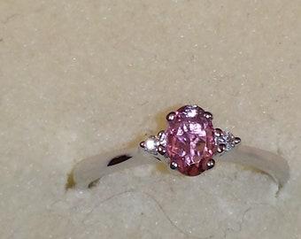 14K White Gold Pink Tourmaline Ring, Pink Tourmaline Ring, October Birthstone
