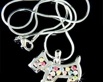Swarovski Crystal Rainbow Scottie Dog WESTIE SCOTTISH Terrier Pendant Charm Chain Necklace Jewelry Jewellery Christmas Best Friend Gift New