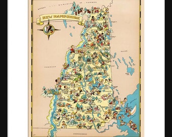 New Hampshire Map - Map of New Hampshire - Vintage Map - Print - Poster - Wall Art - Home Decor