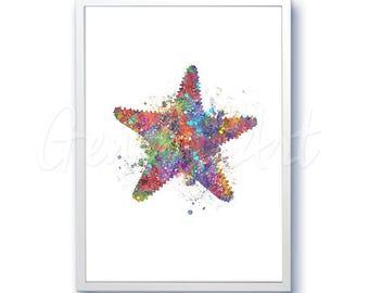 Star Fish Sea Animal Watercolor Art Print  - Watercolor Painting - Sea Life Watercolor Art Painting - Home Decor - House Warming Gift