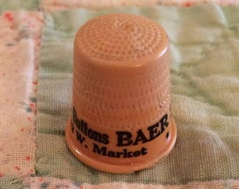 1950's Advertising Celluloid Plastic Thimble Baer Fabrics Louisville Kentucky Sewing Collectible