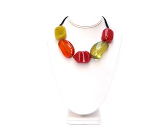 Red Green Candy // Handmade Glass Resin Necklace // One of a kind // Unique Gift for Her