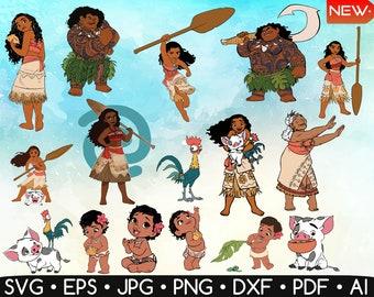 Moana Svg • Moana Cliparts • Moana Printable • Hei Hei Svg • Baby Moana Svg • Disney Moana • Cricut • Digital Item • Instant Download