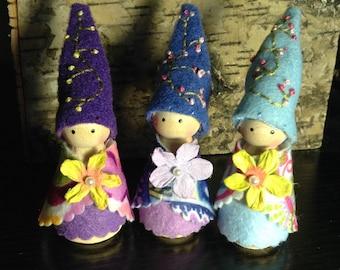 Wooden peg garden fairy trio