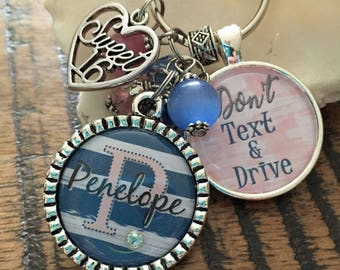 Don't Text and Drive PERSONALIZED watercolor stripes keychain, Custom name initial monogram necklace, Sweet 16 gift New driver key chain car