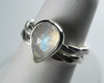 Moonstone Engagement Ring - Rose Cut Moonstone Engagement Ring Set - Rainbow Moonstone Ring - Alternative Wedding Unique Engagement
