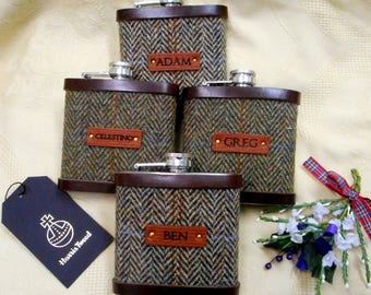 Personalised Groomsman gifts with names Harris Tweed hip flasks,  leather labels Scottish luxury gift for groomsmen, fathers , wedding party