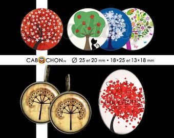 Au Pied de mon Arbre • 60 Images RONDES 25 20 mm OVALES 18x25 13x18 mm feuille tronc racines branches klimt saison automne hiver printemps