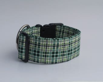 "Winter Walk Flannel Plaid ""Evergreen"" Dog Collar"