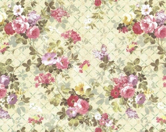Dollhouse Miniature Small Scale Computer Printed Fabric Pink Floral